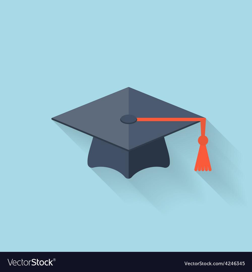 Graduation academic cap flat icon vector image