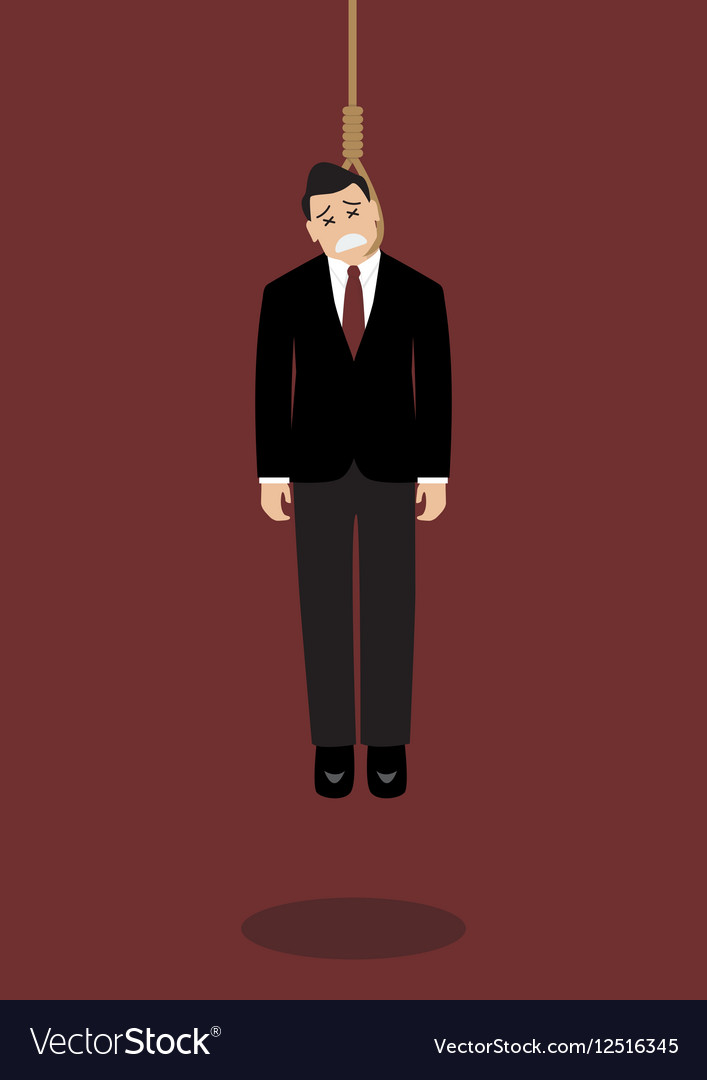 Hanged businessman vector image