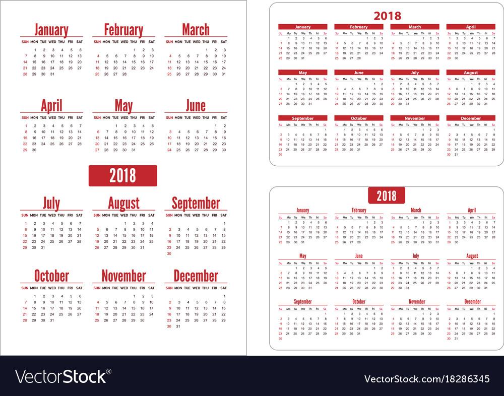 Horizontal and vertical pocket calendar on 2018