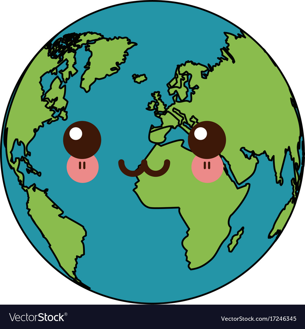 Kawaii World Earth Global Map Continent Geography Vector Image
