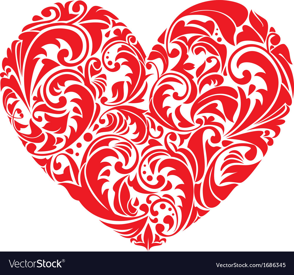 Red ornamental floral heart on white background