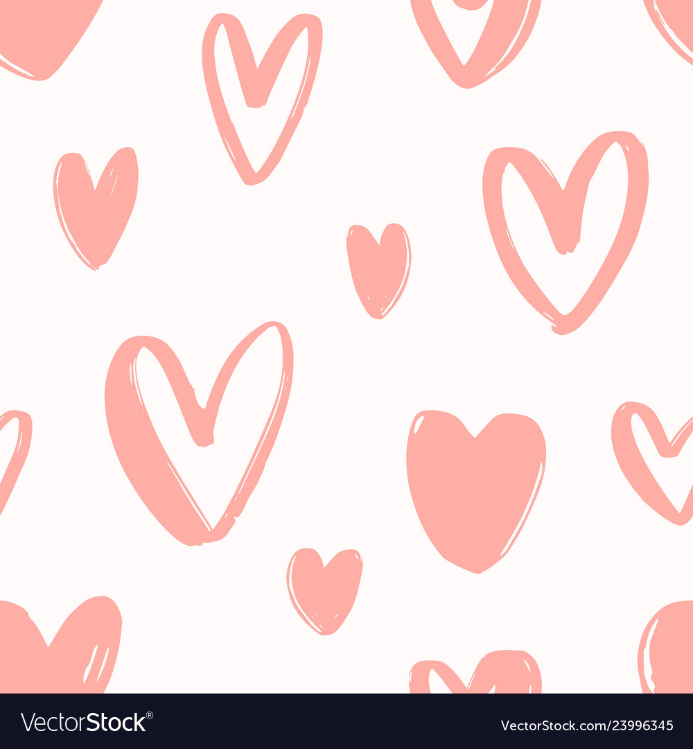 Seamless pattern with hand drawn pink hearts on