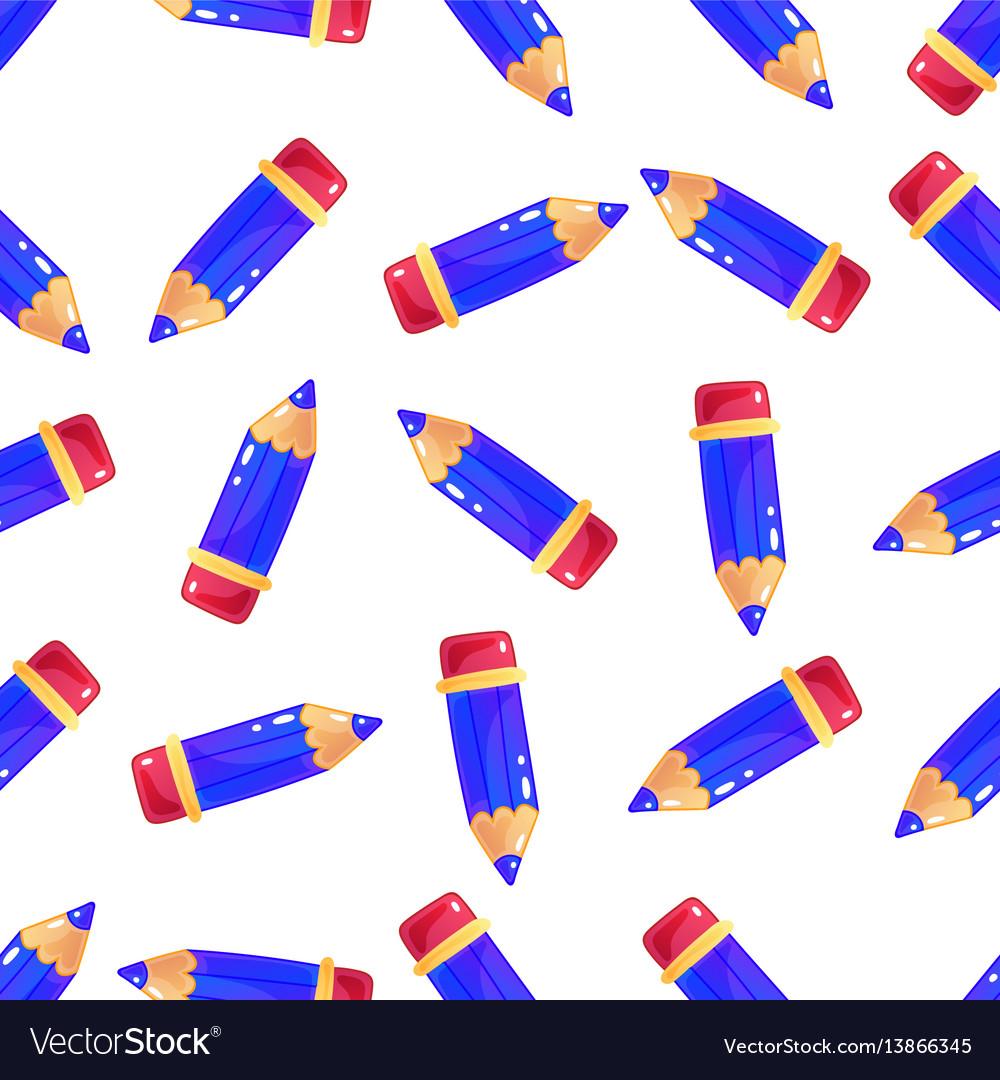simple little cartoon pencil background seamless vector image