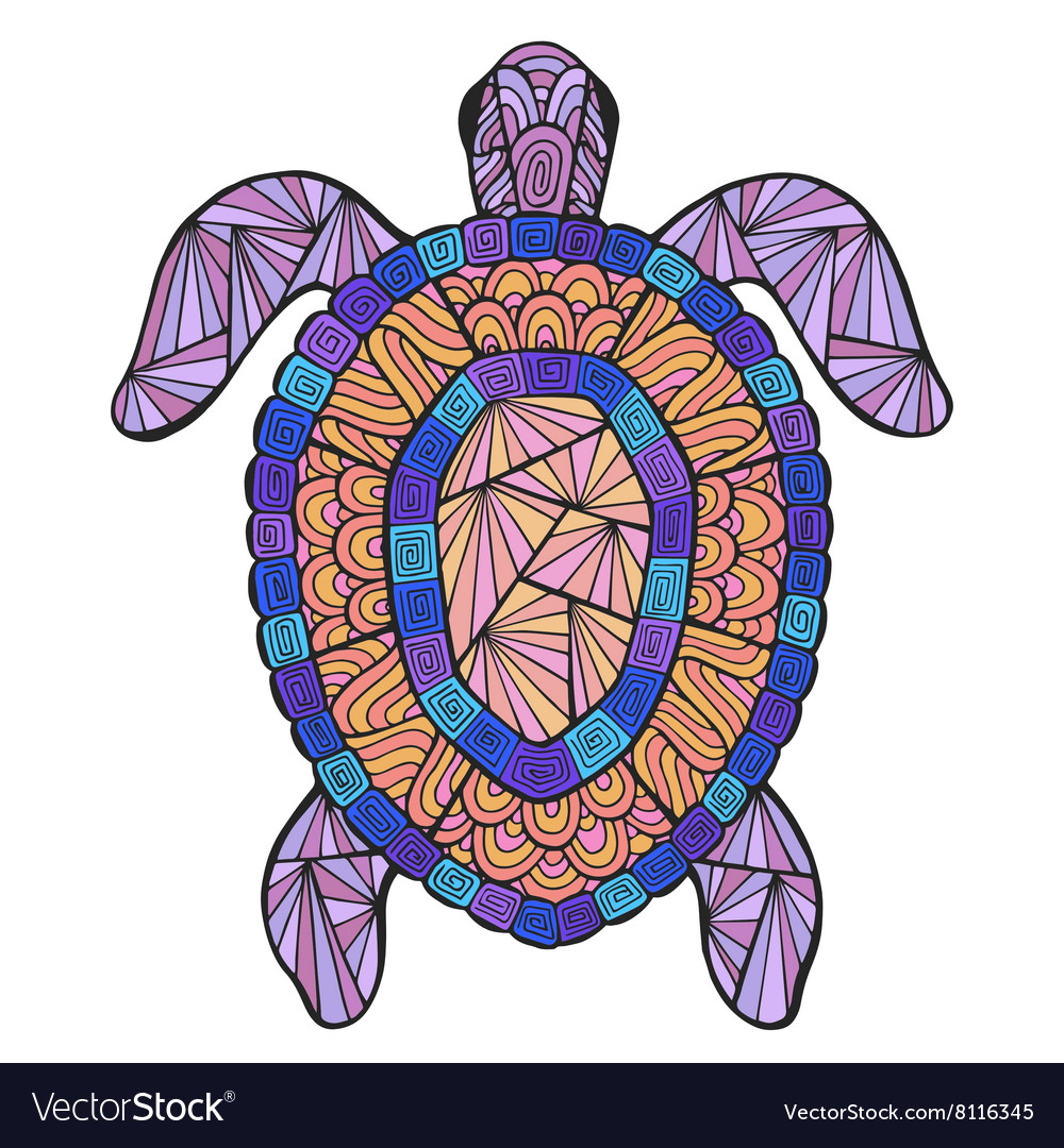Stylized turtle with ethnic pattern