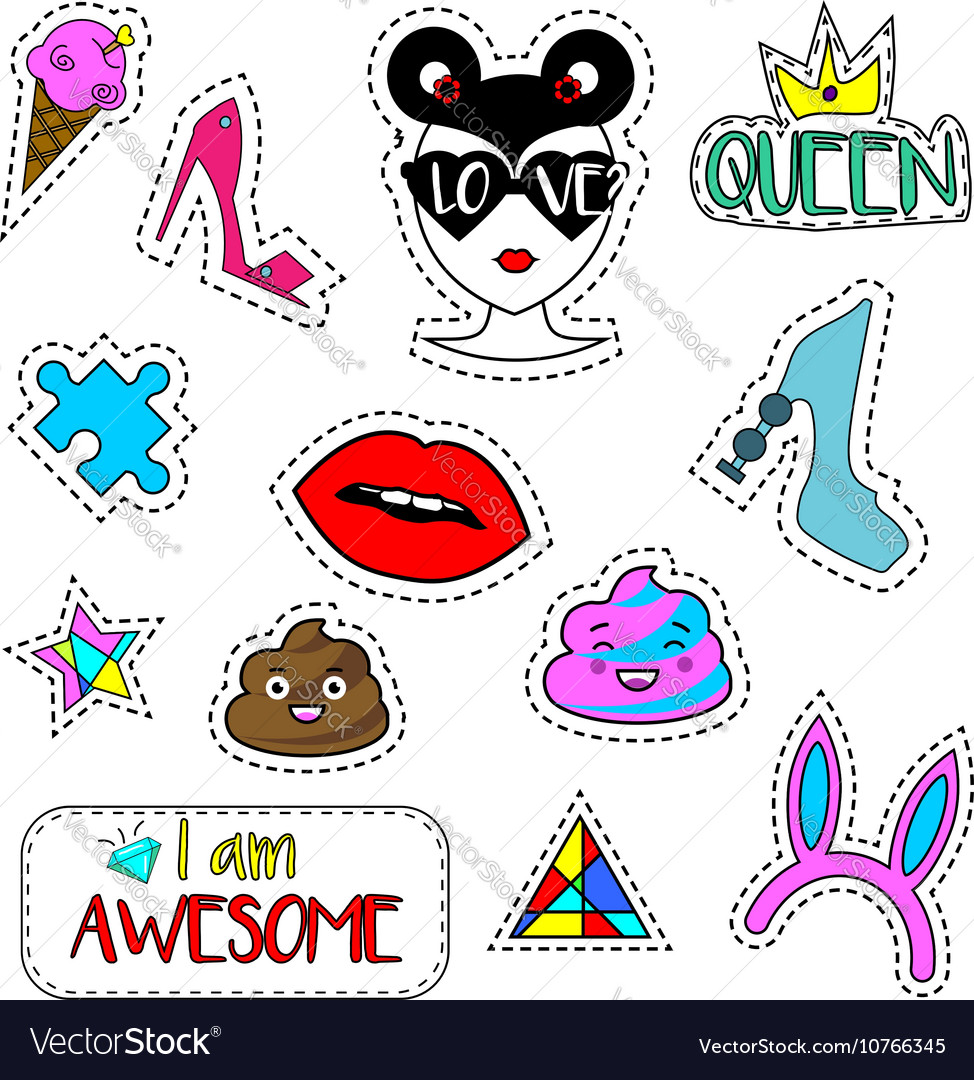 Trendy fashionable pins patches labels stickers vector image