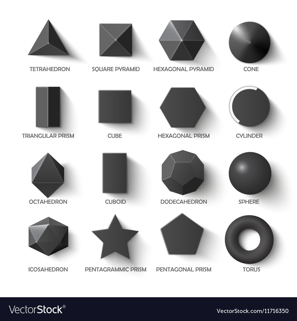 All Basic Shapes Template In Dark Vector Image