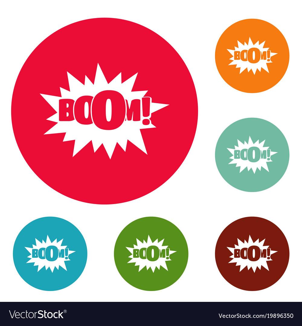 Comic boom big icons circle set