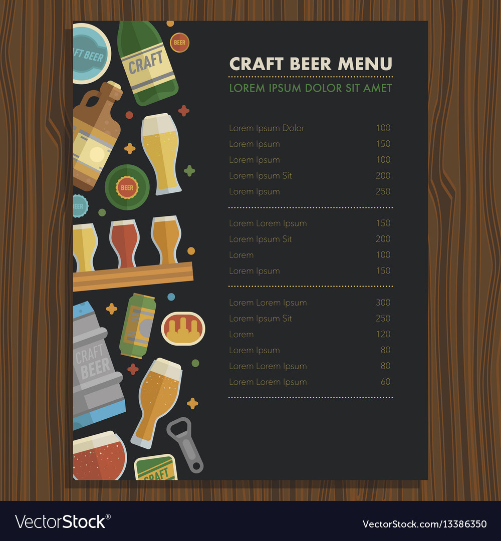 Craft beer menu template for bar and restaraunt
