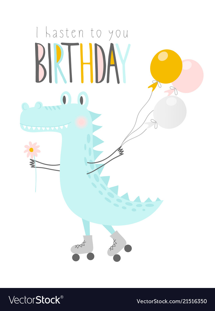 Cute crocodile with balloons and flower on rollers