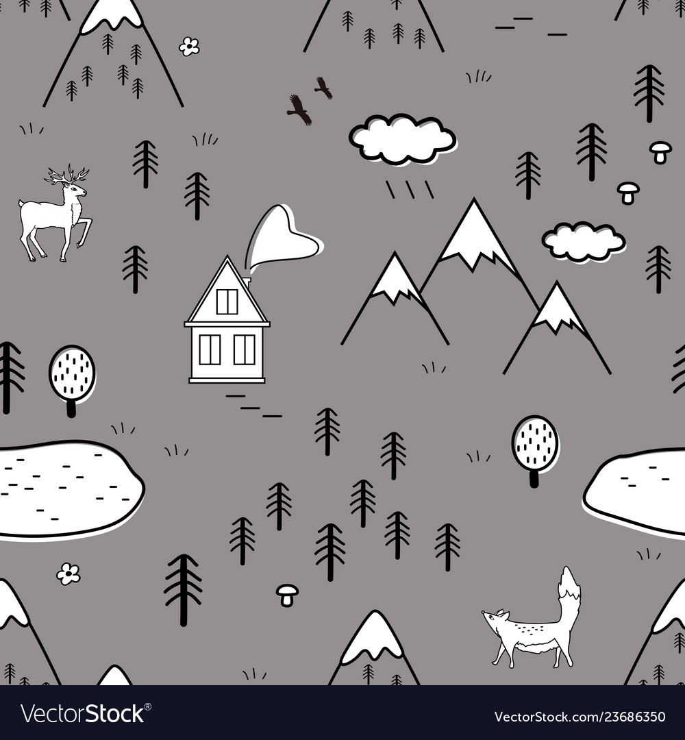 Cute scandinavian landscape with animals trees