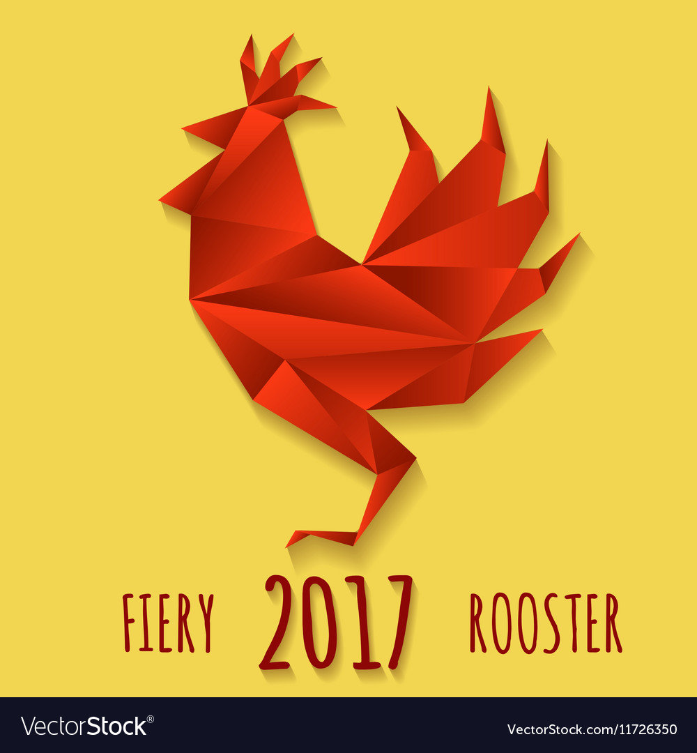 Fiery rooster in paper origami style