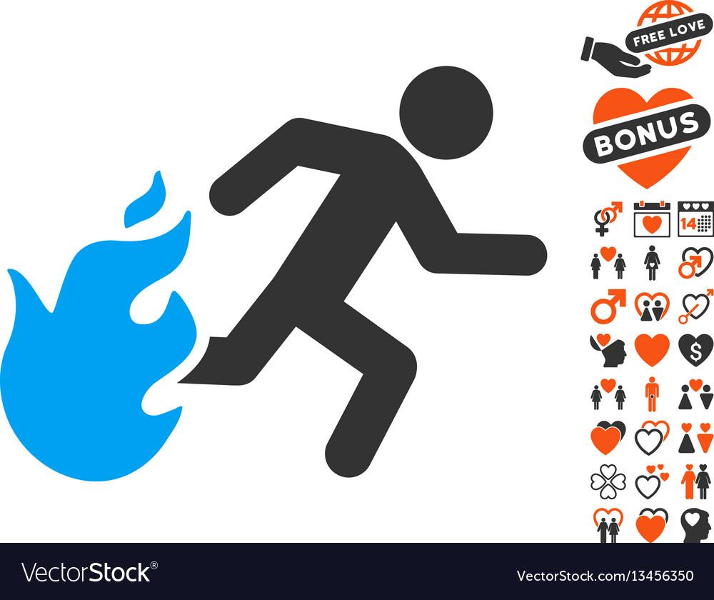 Fired running man icon with valentine bonus vector image