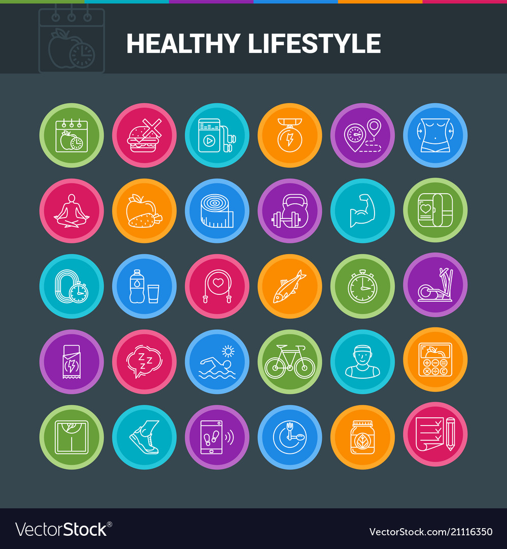 Healthy lifestyle colorful icons