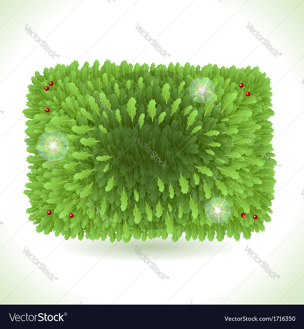 Holly Leaves Rectangle Placeholder Isolated on