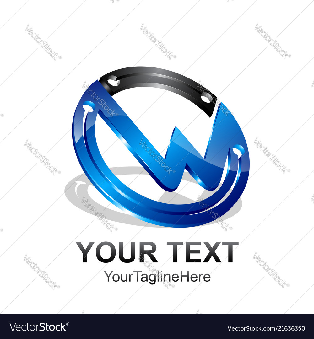 Initial letter w logo template colored black blue