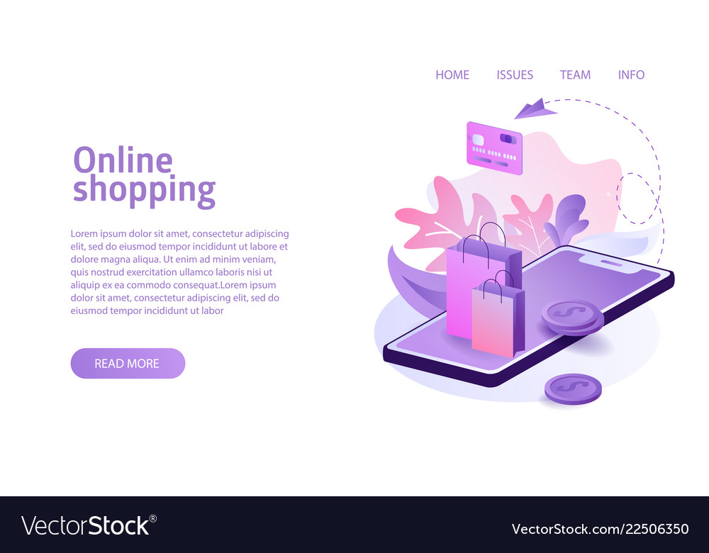 Isometric online shopping concept business