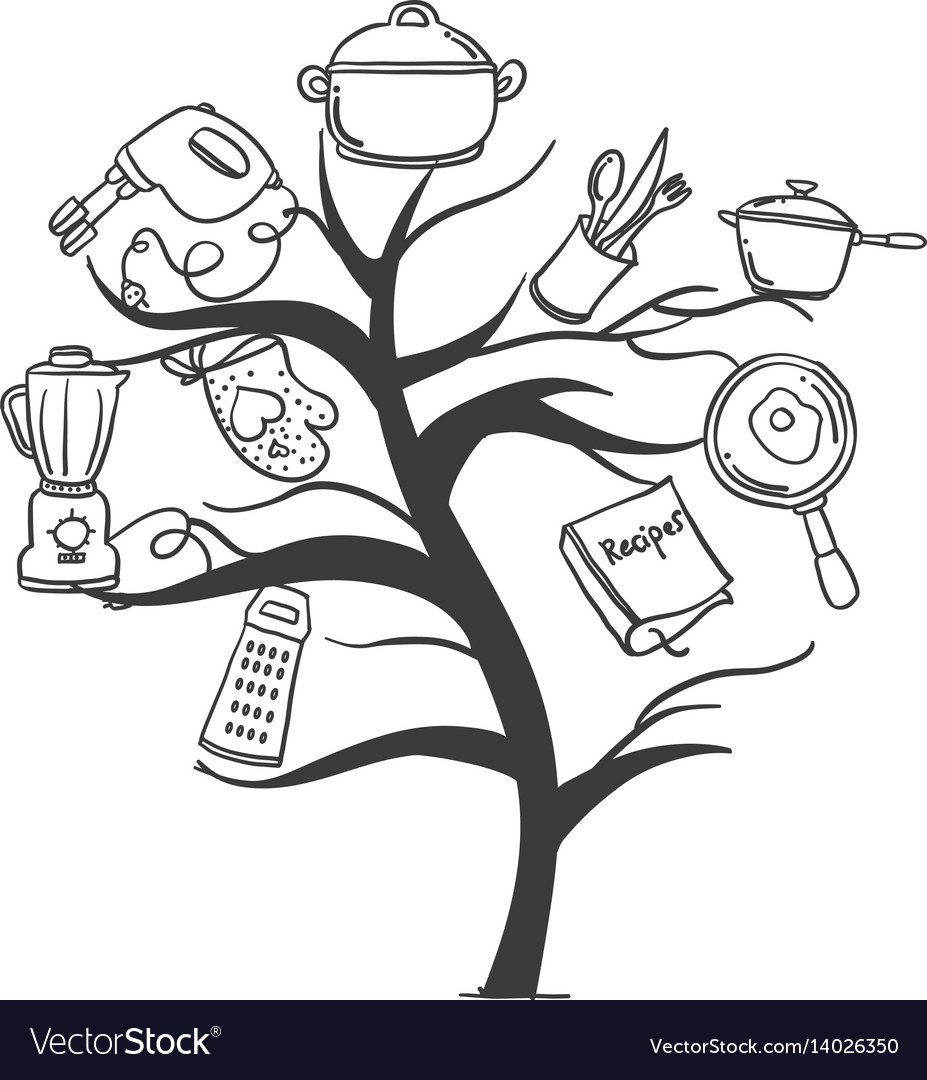 Kitchen Set Tree Hand Draw Style Royalty Free Vector Image