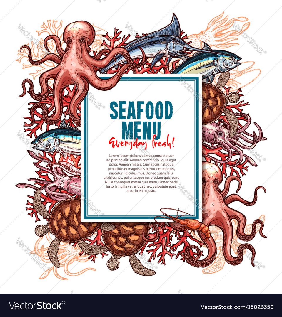 Menu for seafood or fish food restaurant
