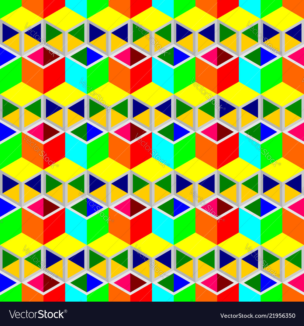 Multi-color cubes pattern seamless background