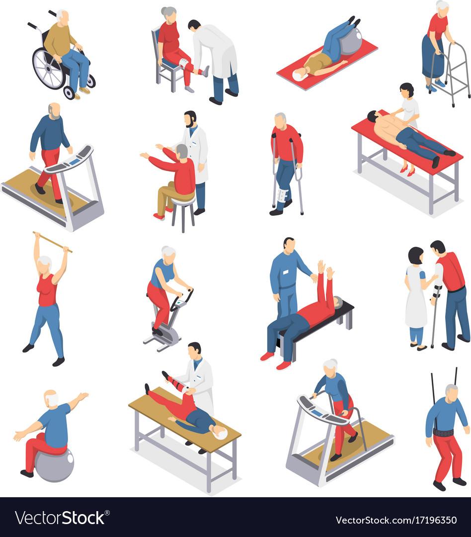 Rehabilitation physiotherapy isometric icons set