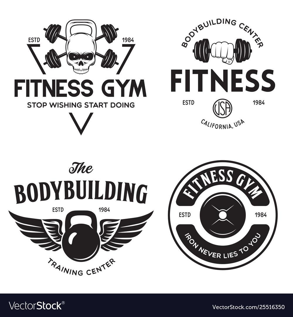 Set monochrome fitness emblems labels badges