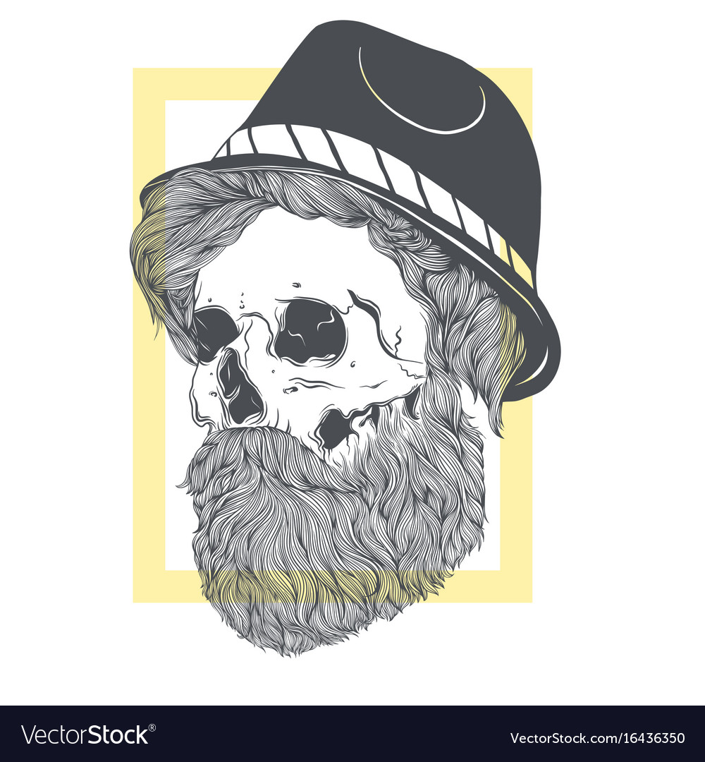 Stylish skull with a beard in a summer hat