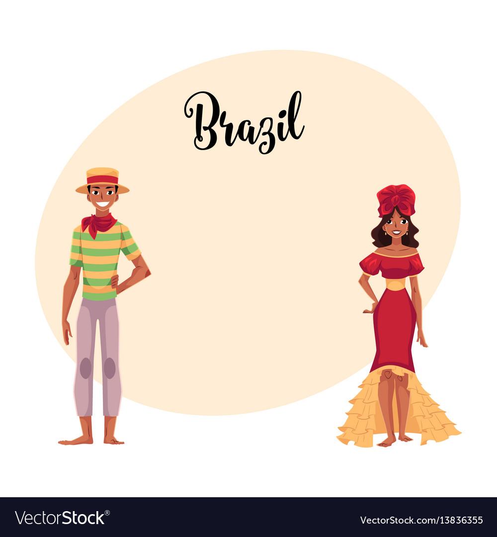 Brazilian man in festa junina suit woman wearing