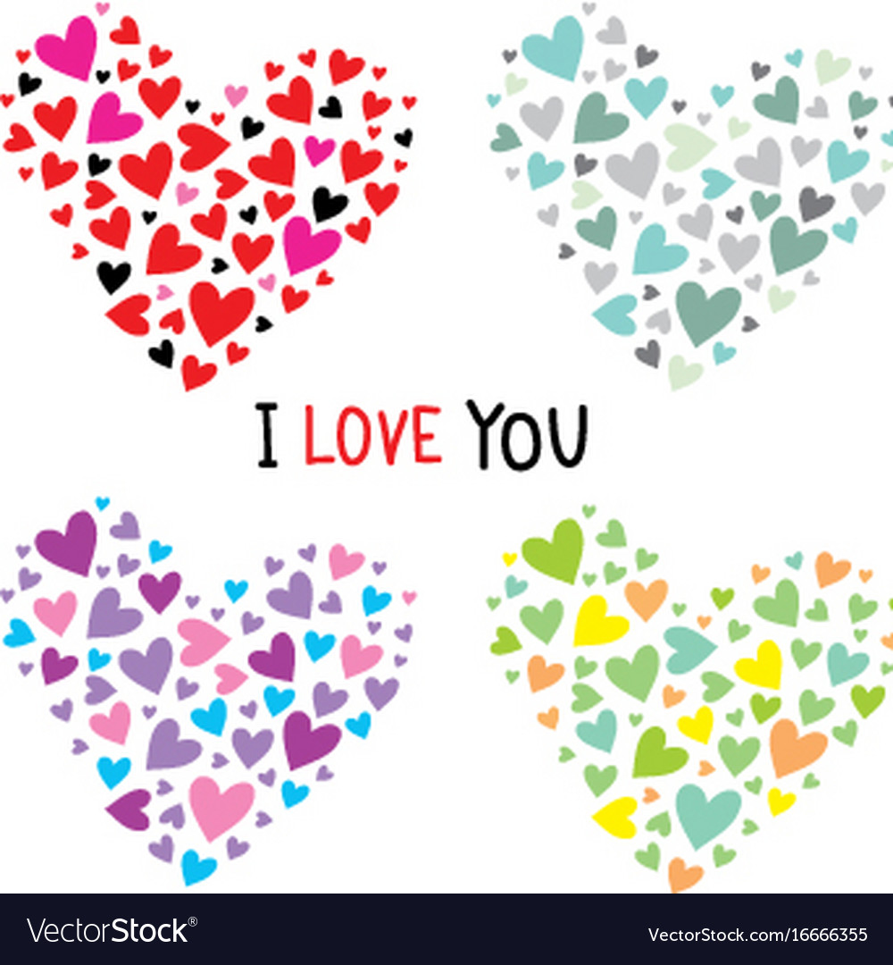 Collection hearts for your design vector image