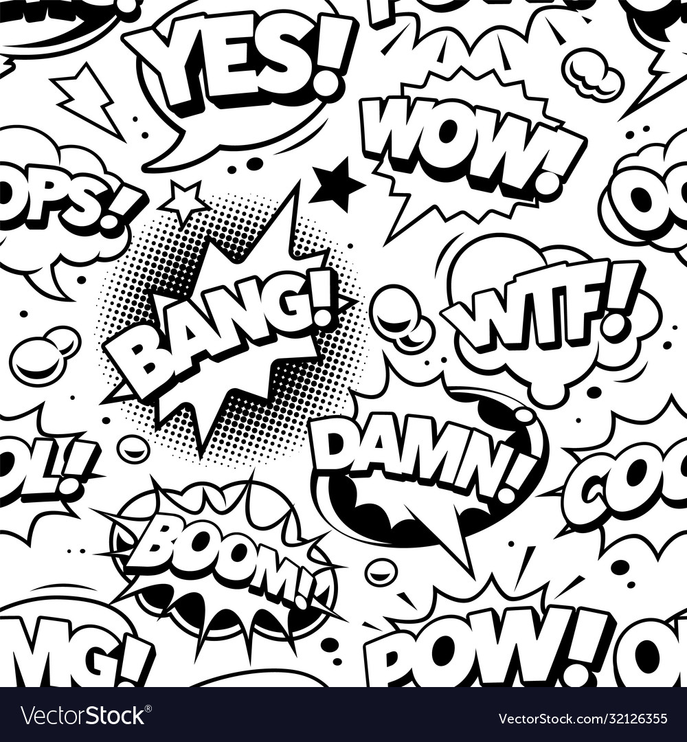Comic pop art seamless pattern