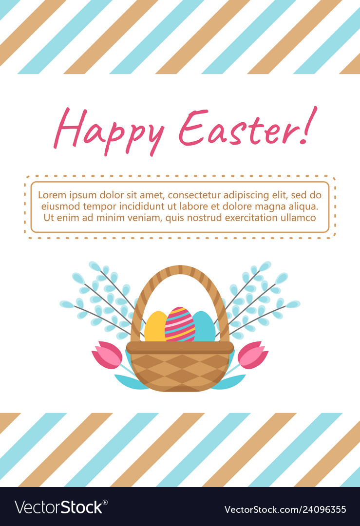 Easter card template with basket and eggs