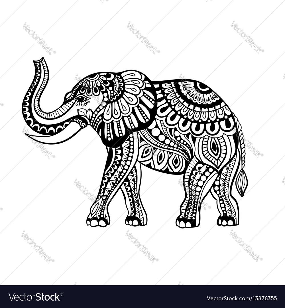 Elephant in zentangle style