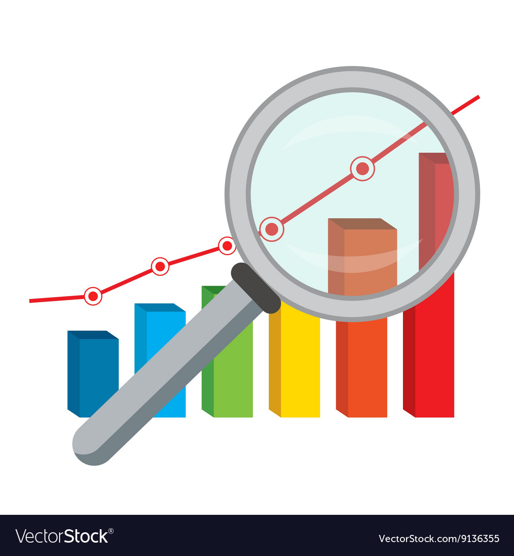 Finance graph and magnifying glass