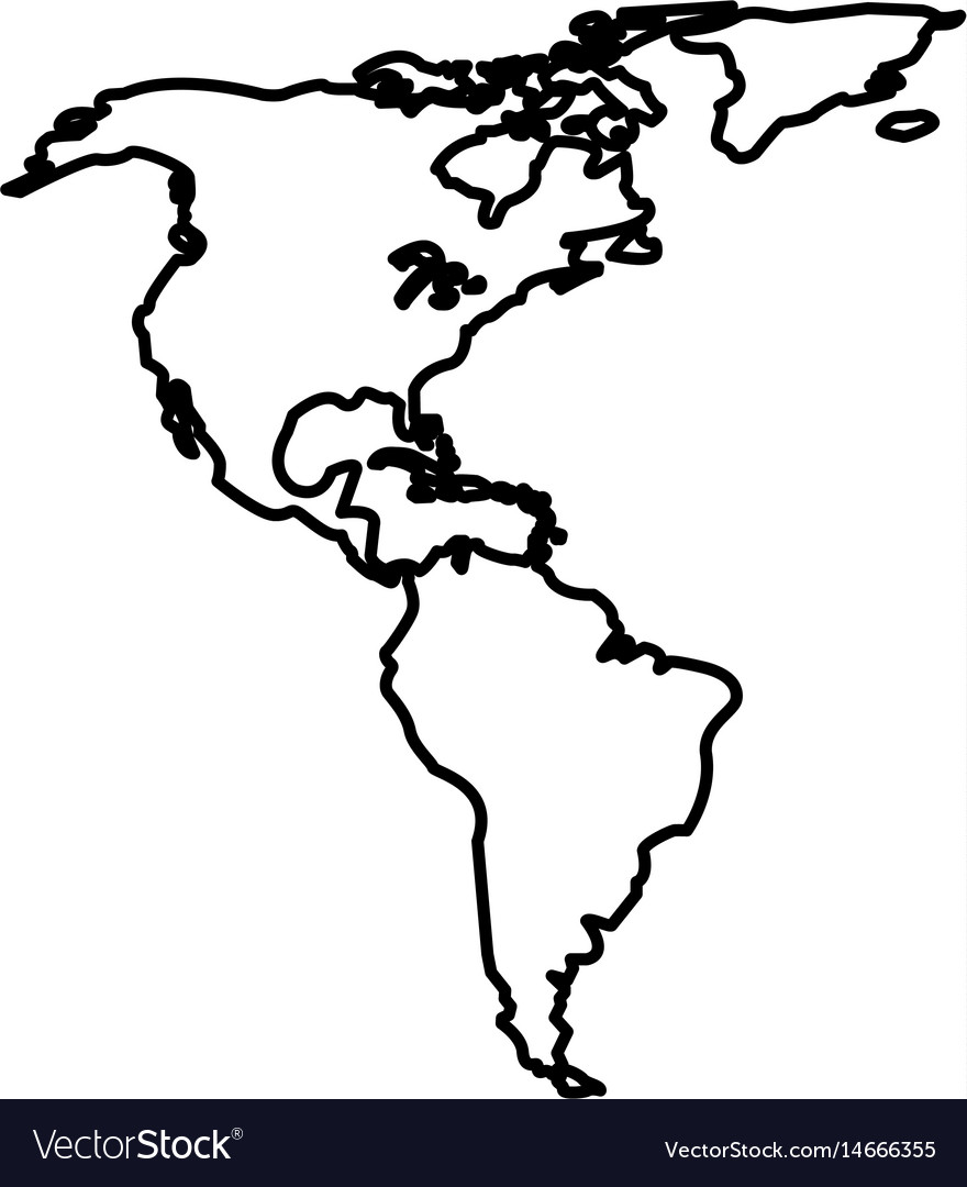 Map north and south america location line vector image