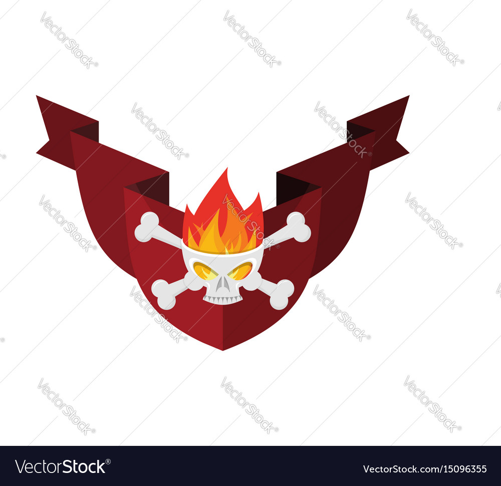 Military emblem skull and crossbones and fire vector image