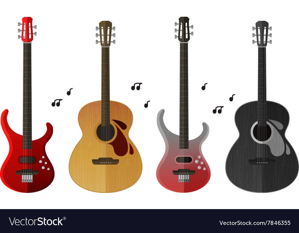 Musical instruments icons set electric guitar and