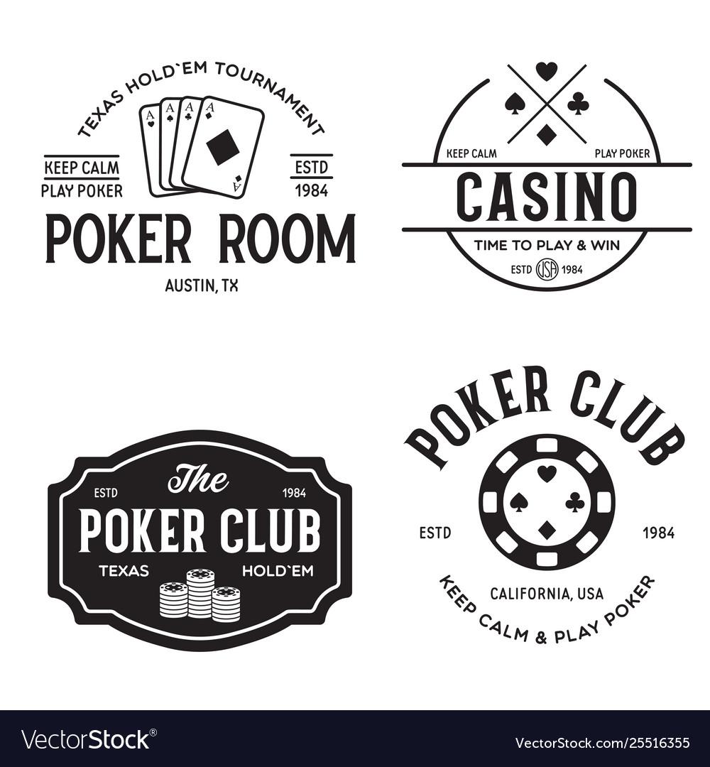 Poker related labels emblems badges design