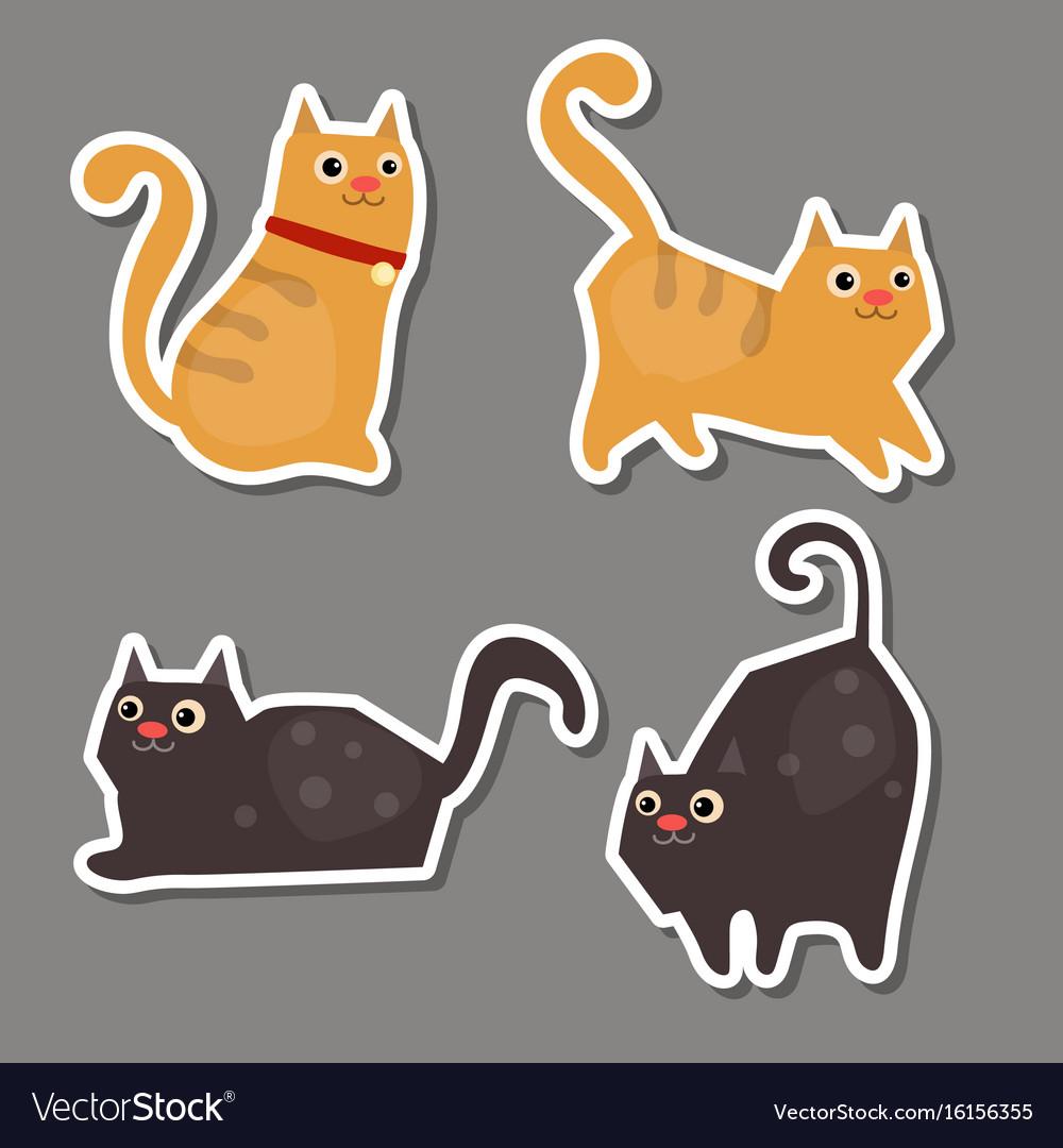 Set of cute cat stickers set of cute cat stickers