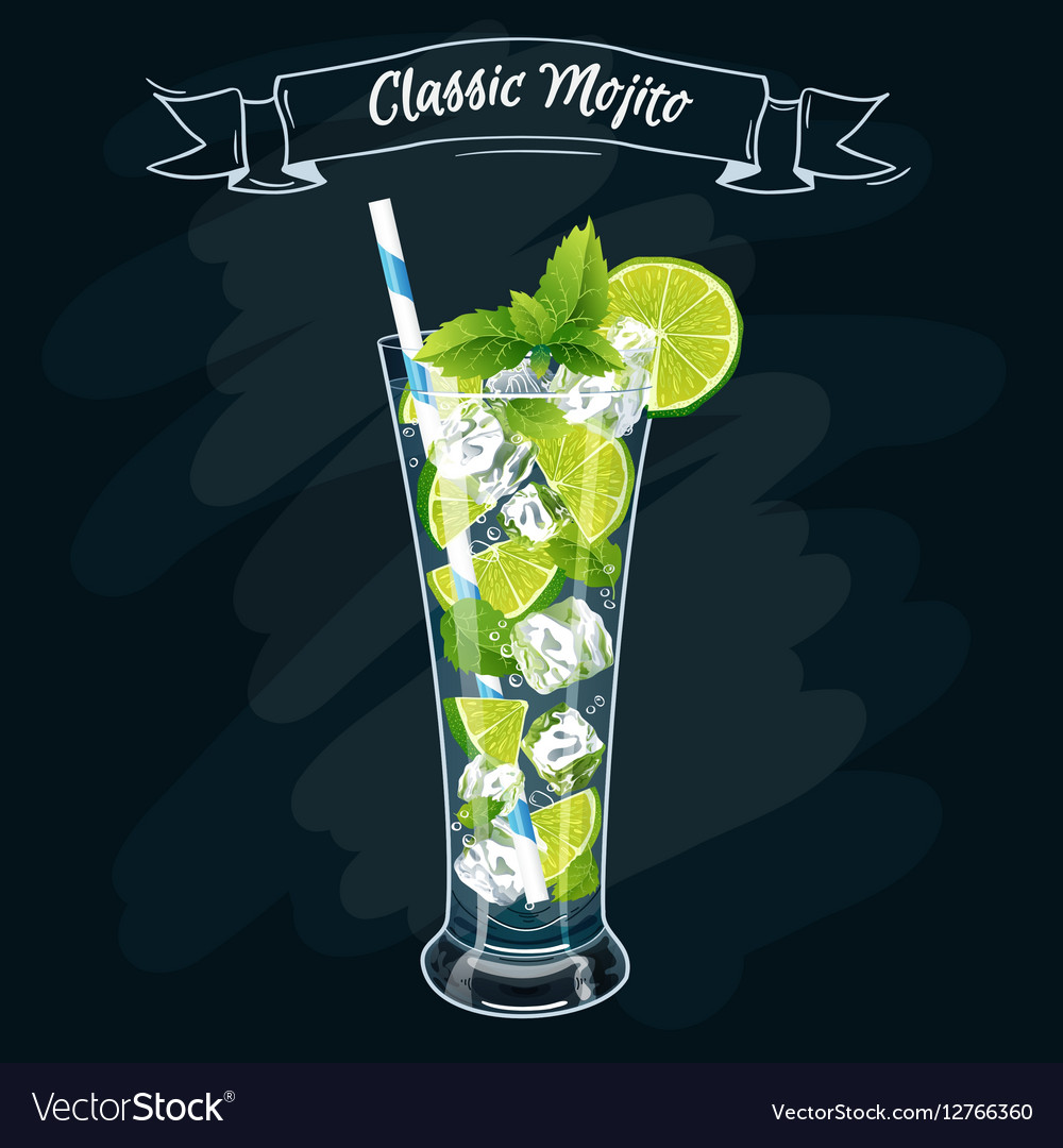 Alcoholic cocktail Mojito vector image