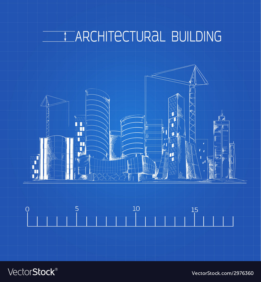Architectural building blueprint royalty free vector image architectural building blueprint vector image malvernweather Images