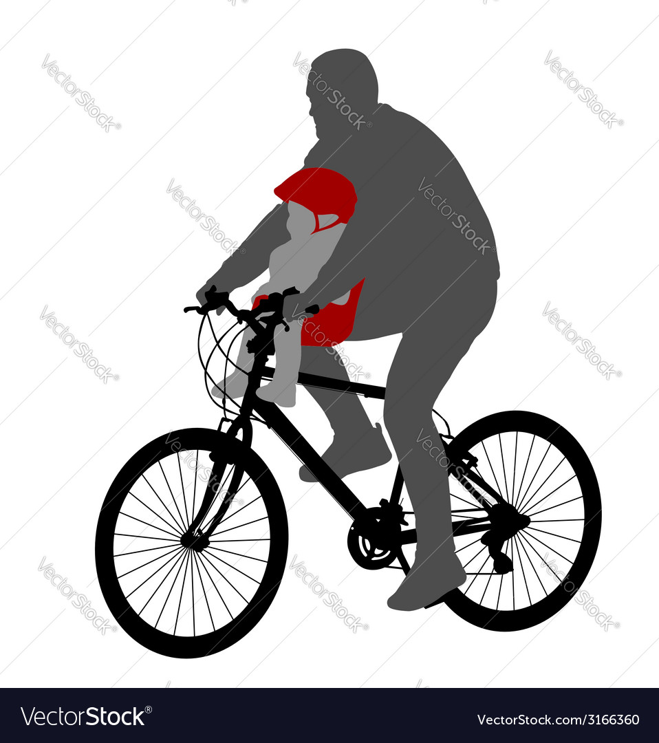 Bicyclist with baby in bicycle chair