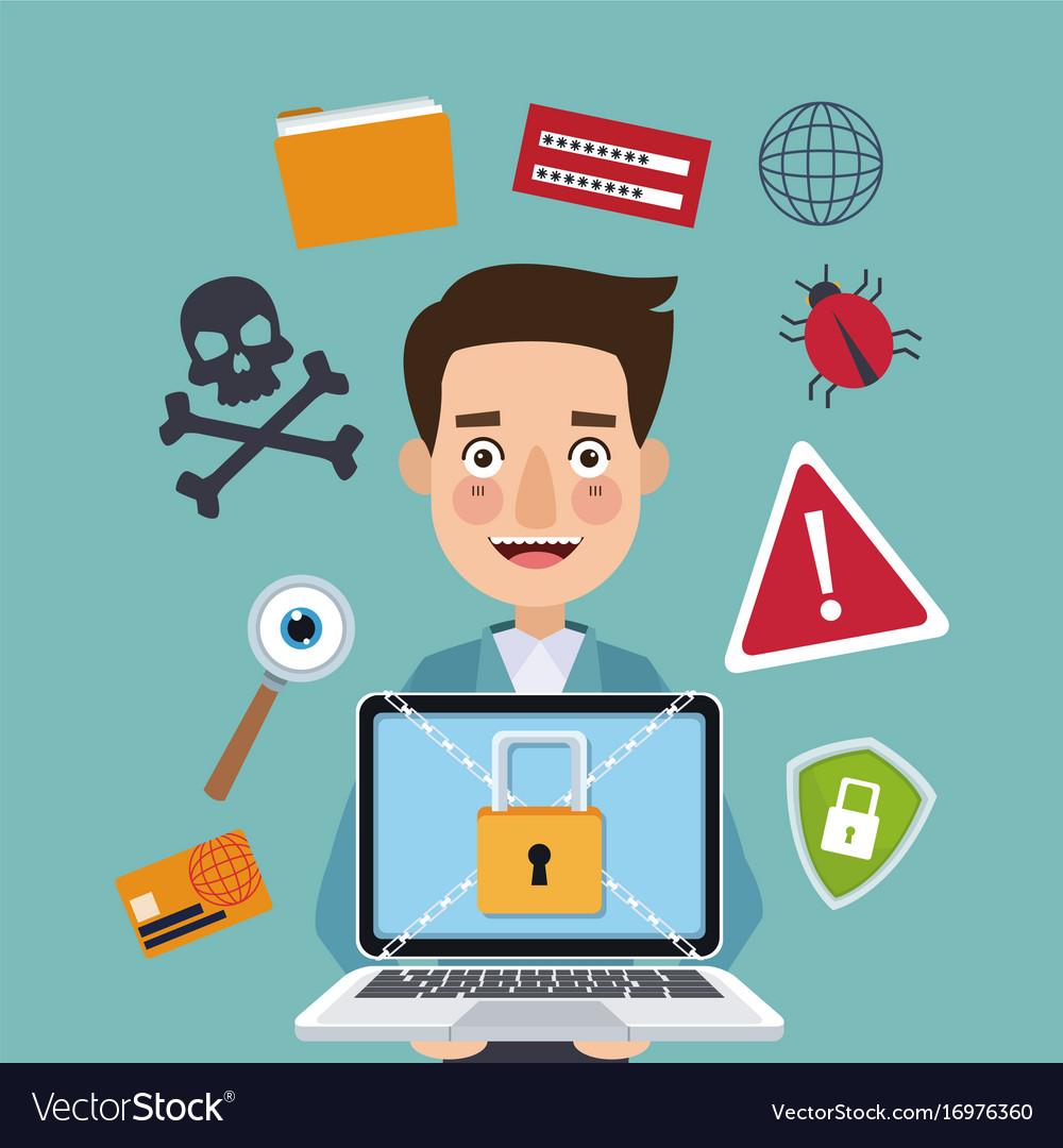 Blue color background man programmer holding vector image