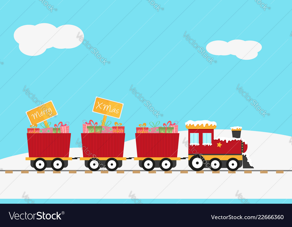Christmas design with red train and wooden sign