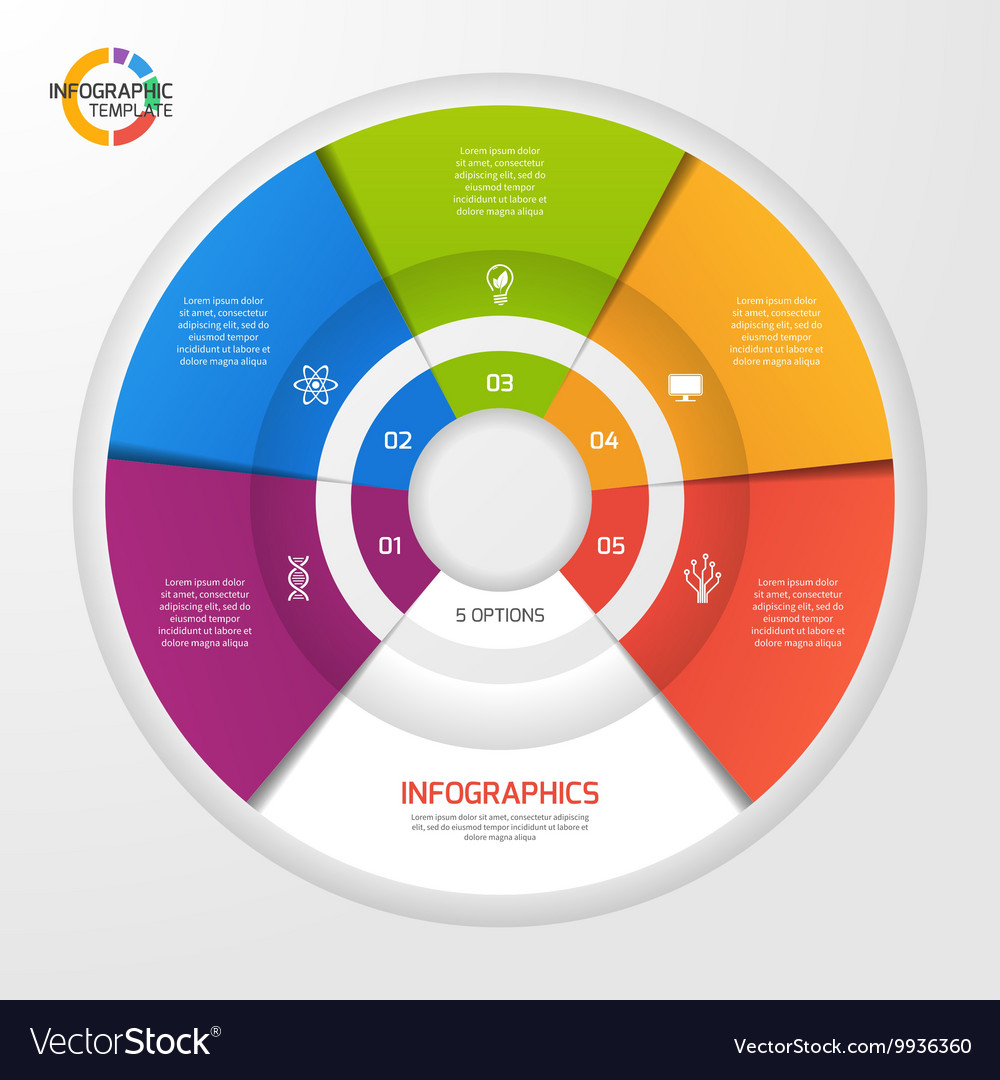 Circle infographic template 5 options