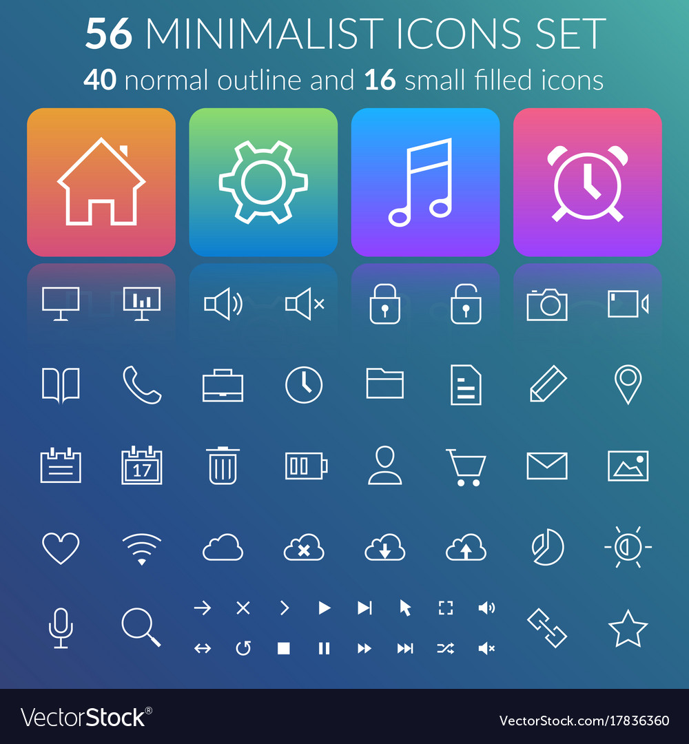 Flat user interface line icons set
