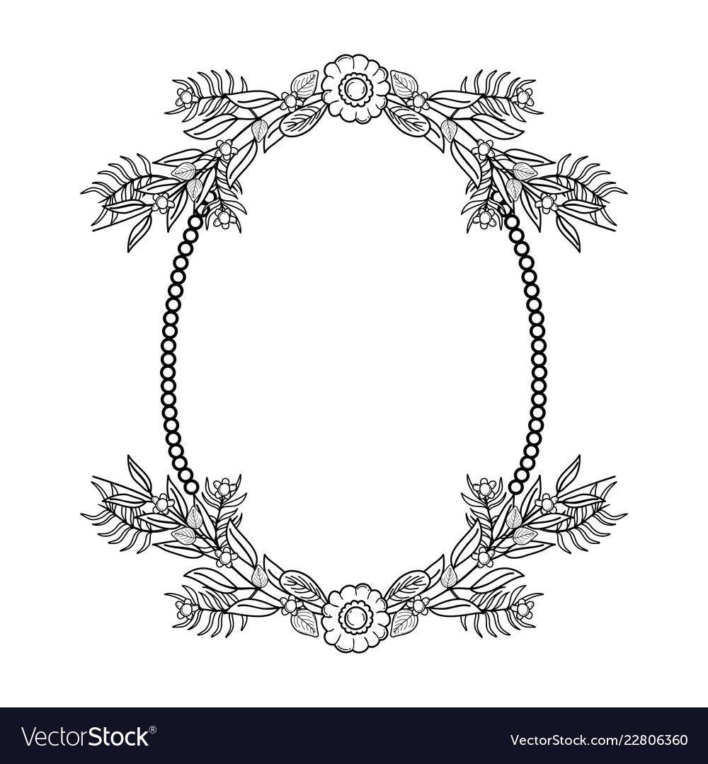 Flower Arrangement Cute Frame In Black And White Vector Image