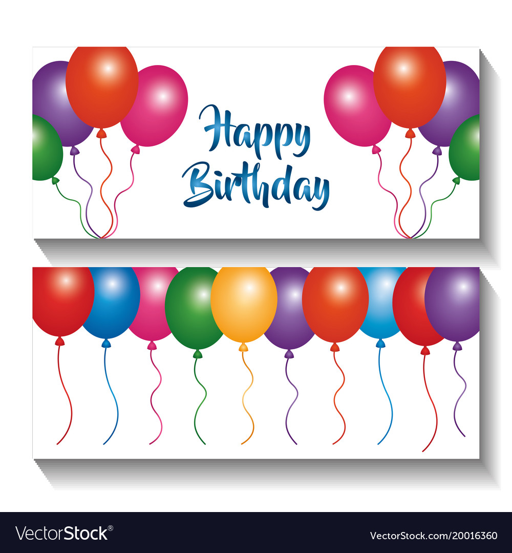 Happy birthday banners invitation multicolor