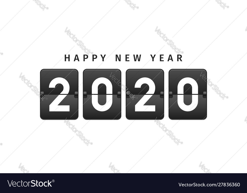 Happy new year 2020 text design in vintage style