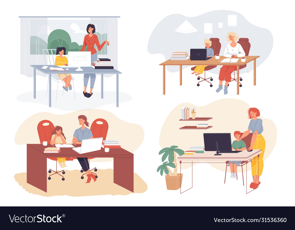 Kids Distance Learning Online Education At Home Vector Image