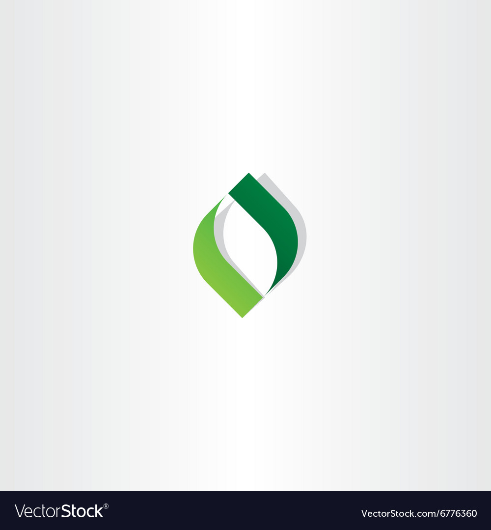 Letter o green leaf logo icon element