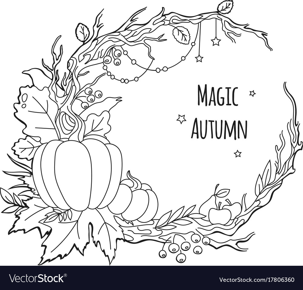 Magic autumn frame Royalty Free Vector Image - VectorStock